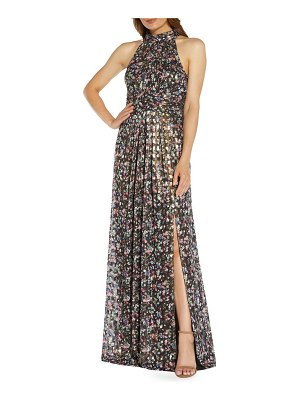 Adrianna Papell foiled floral pleated chiffon gown