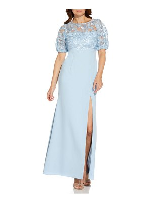 Adrianna Papell lace bodice crepe gown