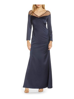 Adrianna Papell long sleeve illusion off the shoulder satin gown