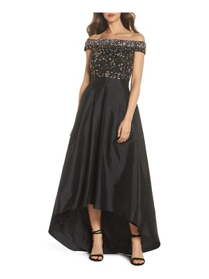 Adrianna Papell off the shoulder beaded ballgown
