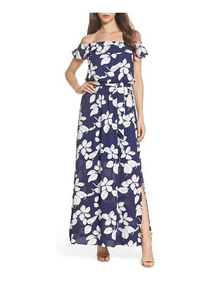 Adrianna Papell off the shoulder ruffle maxi dress