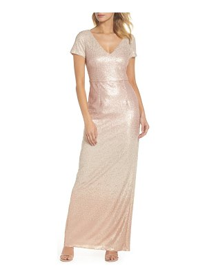 Adrianna Papell ombre sequin column gown