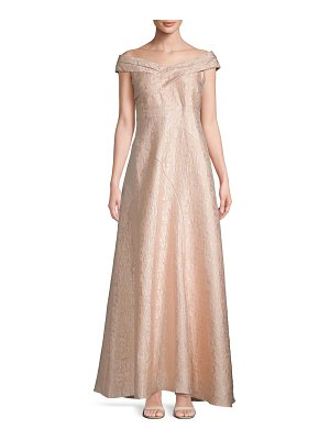 Adrianna Papell Pleated Off-The-Shoulder Floor-Length Dress