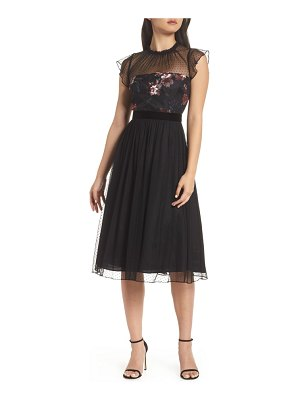 Adrianna Papell print detail tulle dress