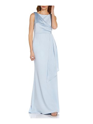 Adrianna Papell satin drape crepe gown