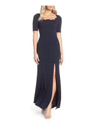 Adrianna Papell scallop neck crepe evening dress