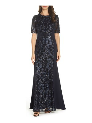 Adrianna Papell sequin embroidered gown