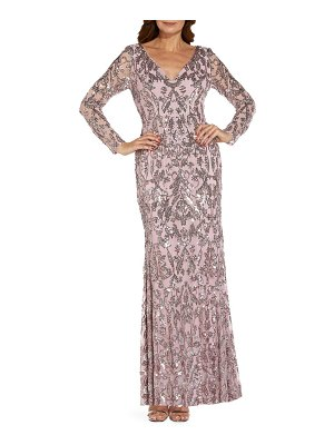 Adrianna Papell sequin mesh long sleeve trumpet gown