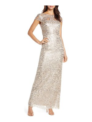 Adrianna Papell sequin popover column gown