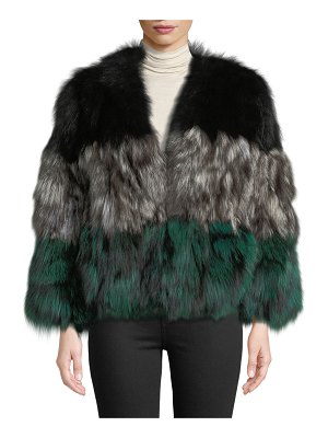 Adrienne Landau Multicolor Fox Fur Jacket
