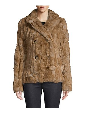 Adrienne Landau rex rabbit fur pea coat