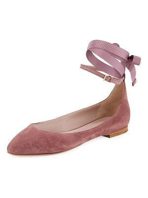 Aerin Suede Ankle-Wrap Ballet Flats