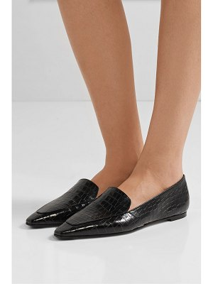aeyde aurora glossed croc-effect leather loafers