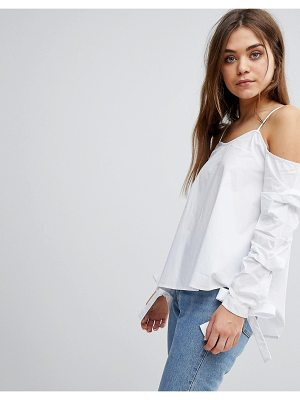 After Market cold shoulder top with bow cuff details