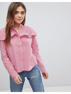 After Market gingham ruffle top