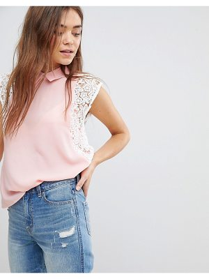 After Market Lace Contrast Top With Collar