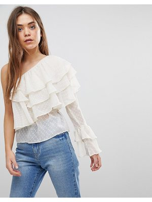 After Market one shoulder tiered ruffle top