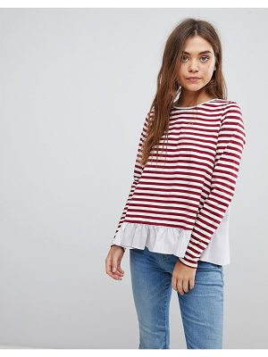 After Market stripe long sleeve t-shirt with frill hem