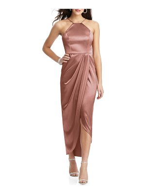 After Six bow halter neck stretch satin gown