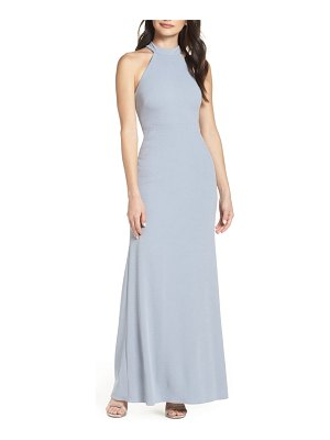 After Six halter neck stretch crepe evening dress