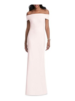 After Six off the shoulder stretch crepe gown