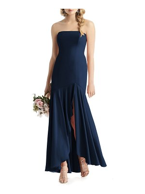 After Six strapless high/low matte chiffon gown