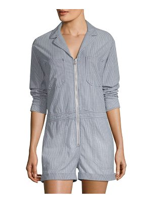 AG Adriano Goldschmied striped zip-front romper