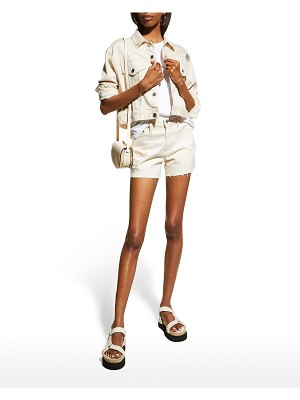 AG Jeans Alexxis Raw-Edge Shorts with Embroidery
