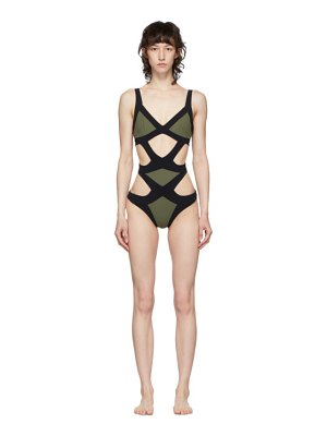 Agent Provocateur khaki and black mazzy one-piece swimsuit