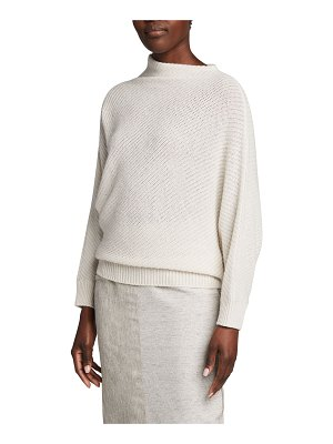 Agnona Bias Pearl-Ribbed Funnel-Neck Sweater