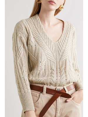 Agnona cable-knit cashmere and linen-blend sweater