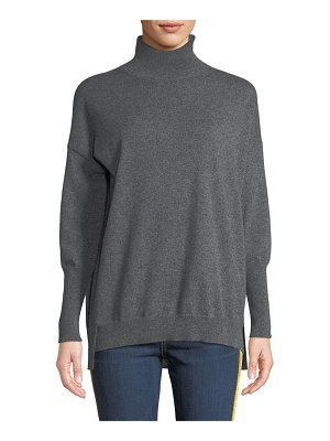 Agnona Eternals 12-GG Cashmere Geo-Slit Dropped-Shoulder Turtleneck Sweater