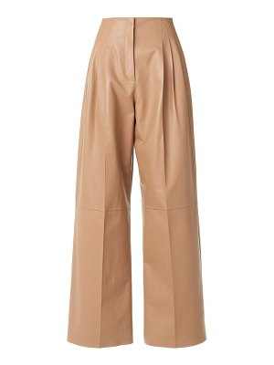Agnona high-waist leather pleat pants