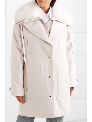 Agnona layered shearling-trimmed cotton-canvas parka