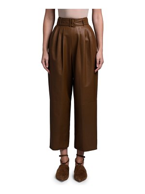 Agnona Leather Full-Leg Pants