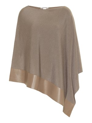 Agnona leather-trimmed wool-blend poncho
