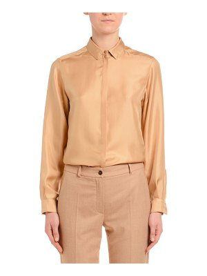 Agnona Long-Sleeve Button-Front Silk Twill Blouse
