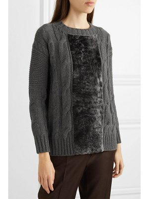 Agnona paneled cable-knit cashmere and shearling sweater
