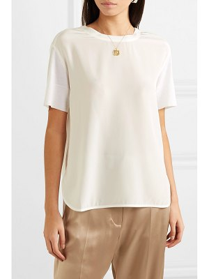 Agnona paneled silk crepe de chine and wool top