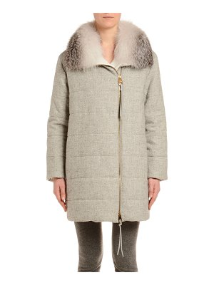 Agnona Quilted Parka Coat with Fox-Fur Trim
