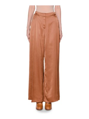 Agnona Satin Wide-Leg Pants