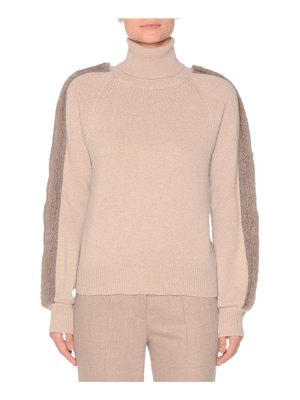 Agnona Turtleneck Cashmere Sweater with Mink