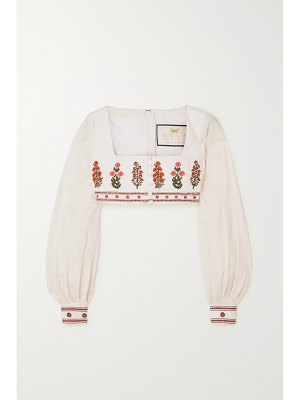 Agua by Agua Bendita pera cropped embroidered linen top