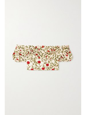 Agua by Agua Bendita pimienta off-the-shoulder cropped embroidered floral-print cotton-poplin top