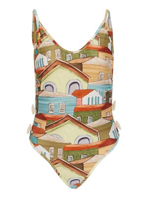 Agua de Coco printed button-detailed swimsuit