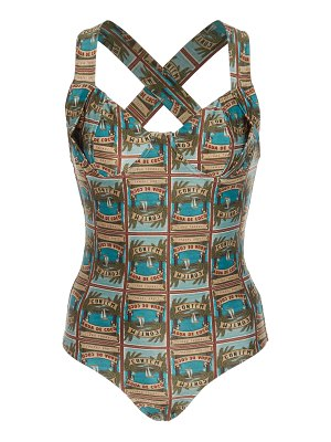 Agua de Coco printed crossover strap one-piece swimsuit