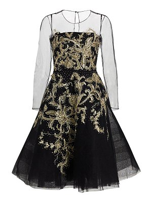 Ahluwalia andriana embroidered illusion-sleeve cocktail dress
