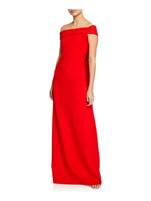 Ahluwalia Ava Off-the-Shoulder Beaded Cape Gown
