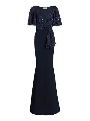 Ahluwalia beaded v-neck trumpet gown