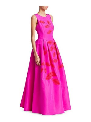 Ahluwalia brielle leaf embroidered a-line gown
